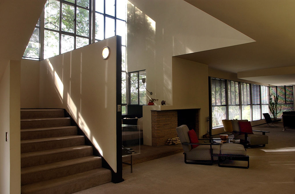 A wide look inside the living area at Bettie Topper's Neutra's Lovell house, Friday morning in Silve