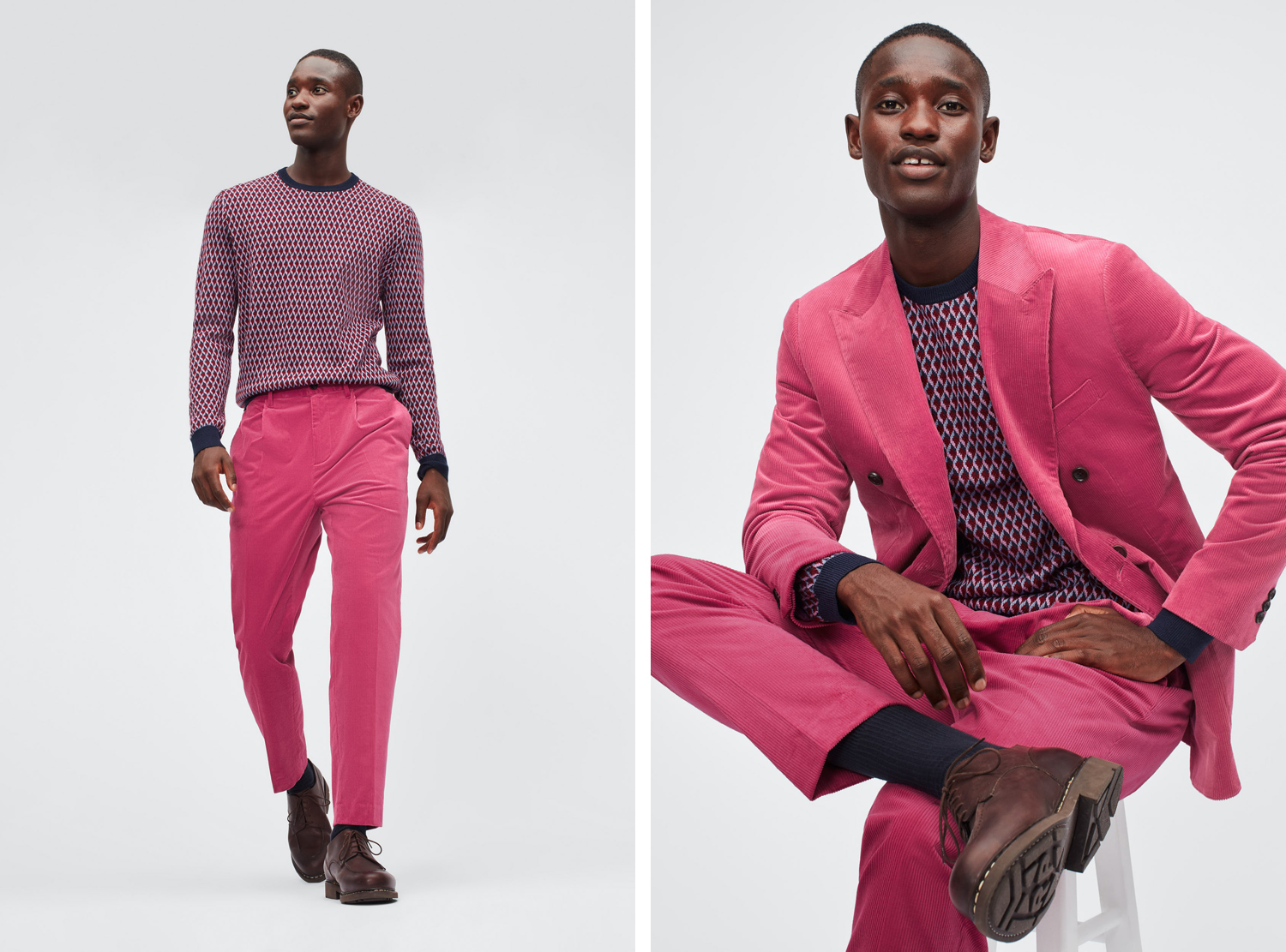 bonobos Pleated Stretch Corduroy Trousers + Double-Breasted Stretch Corduroy Blazer pink
