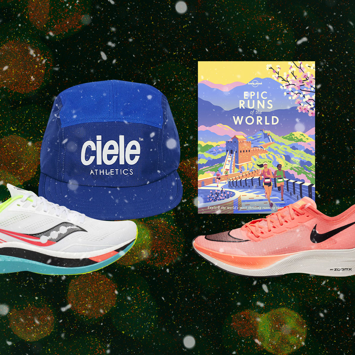 sneakers, running caps and a book about running