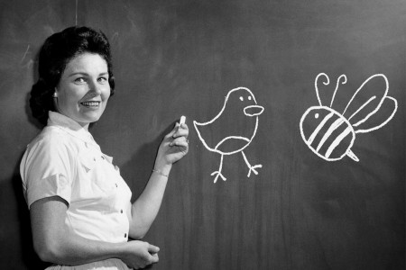teacher drawing birds and bees on chalkboard