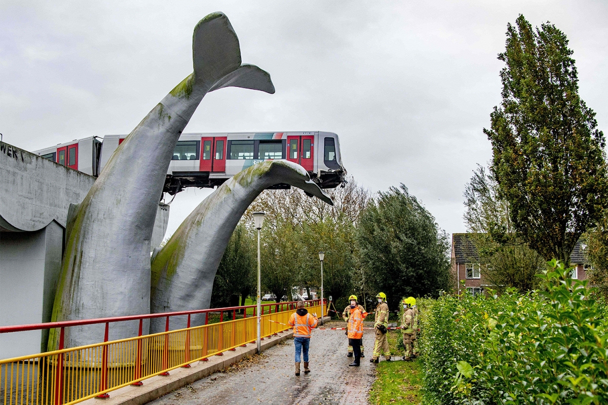 Whale tail sculpture saves train