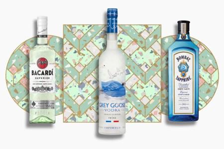 bacardi superior, grey goose and bombay saphirre bottles