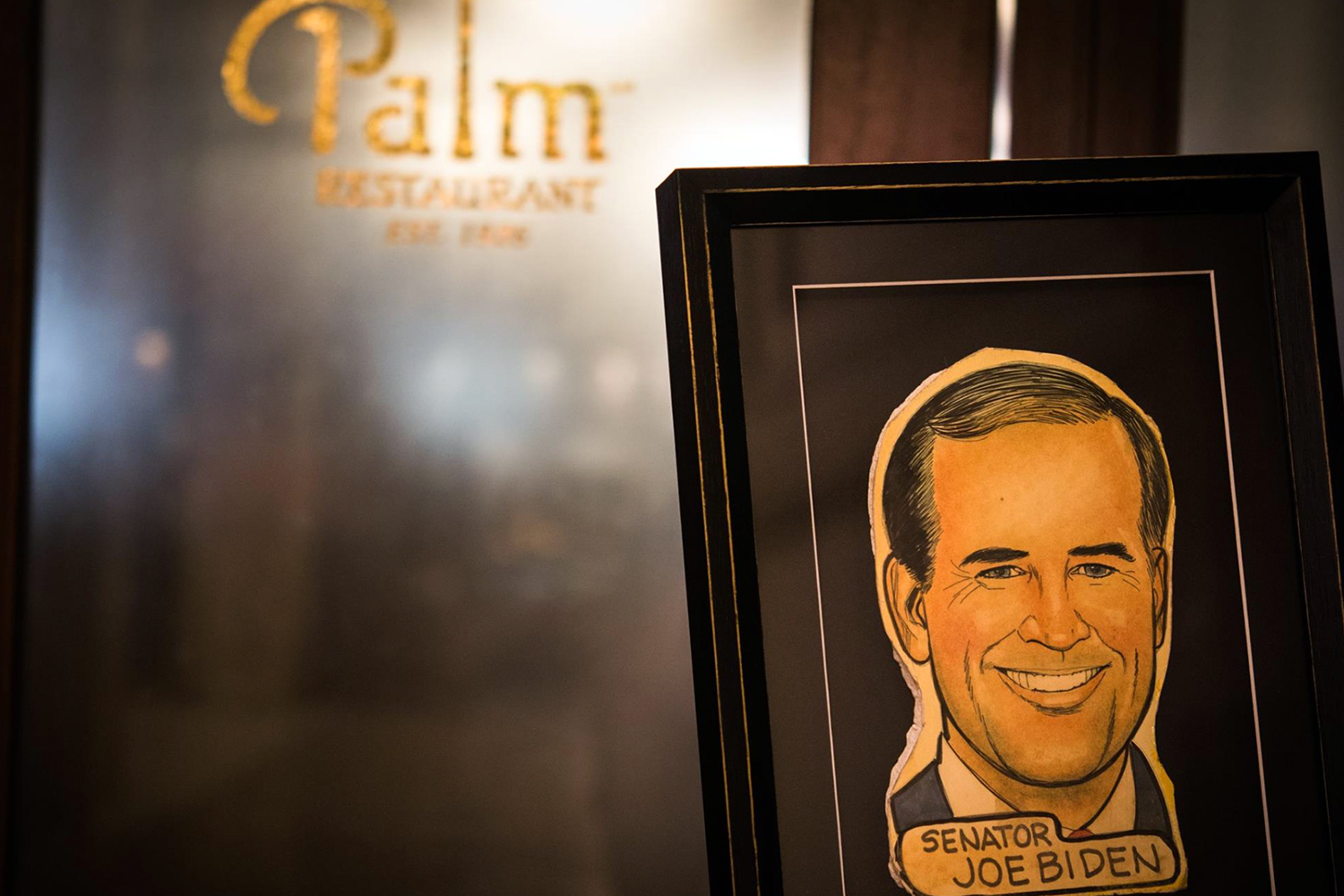 Biden's honorary caricature at The Palm.