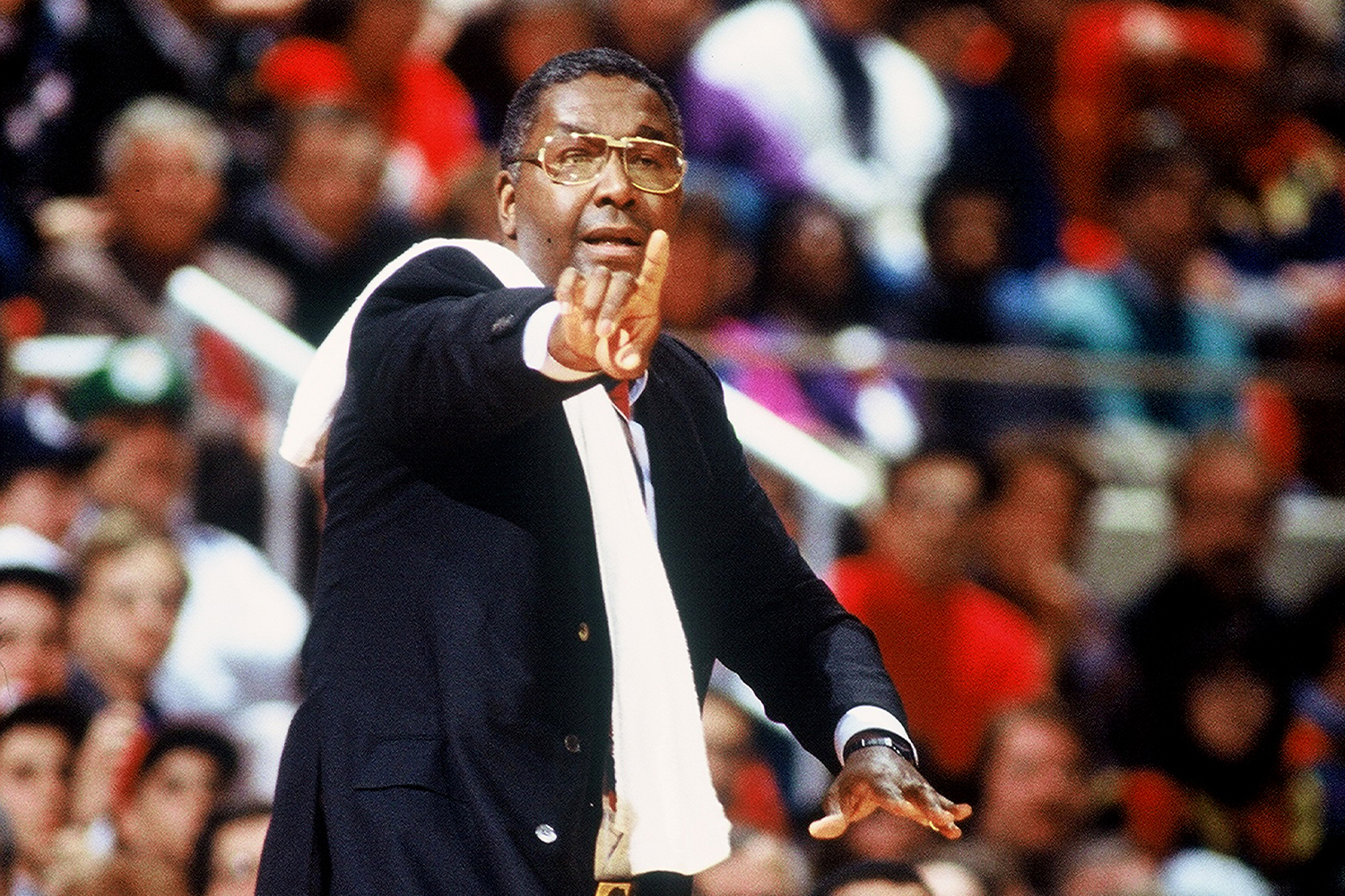 Coach John Thompson during a game against UConn in 1990.