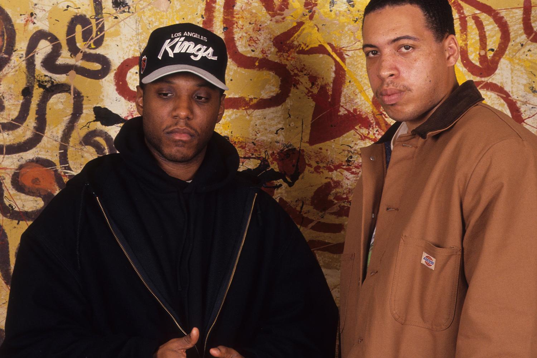 MC Ren with DJ Train, wearing a Kings Sports Specialties hat in 1992.