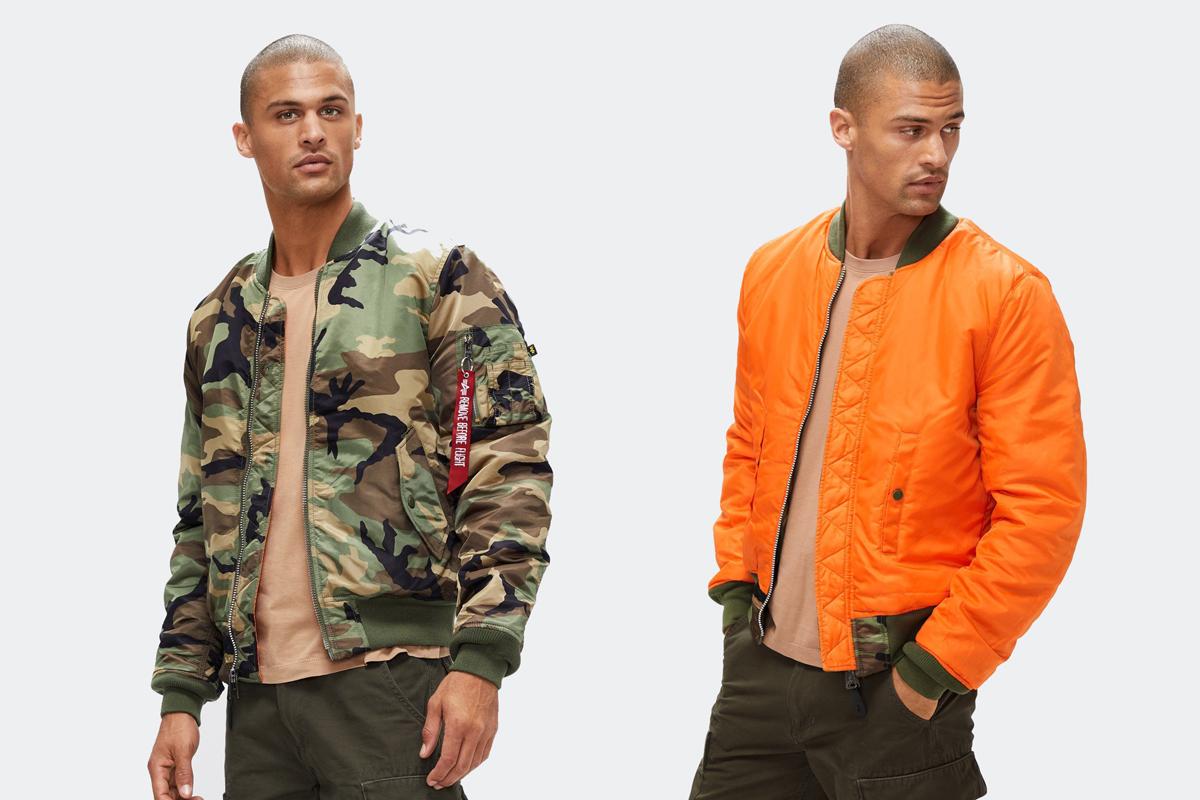 alpha industries reversible camo bomber jacket
