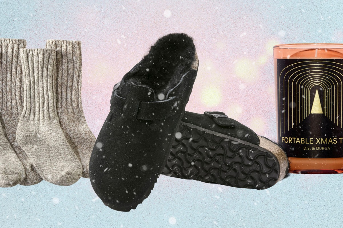 cozy gifts: socks, slippers, candles