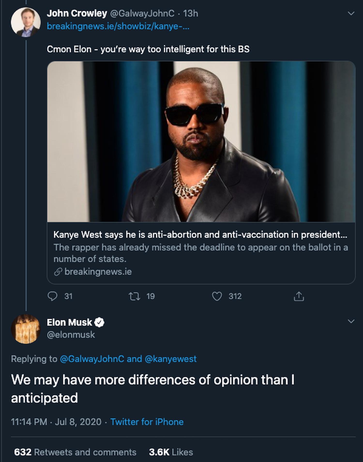 Elon Musk Kanye president tweet