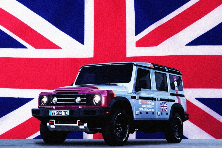 Ineos Automotive Grenadier in front of Union Jack flag