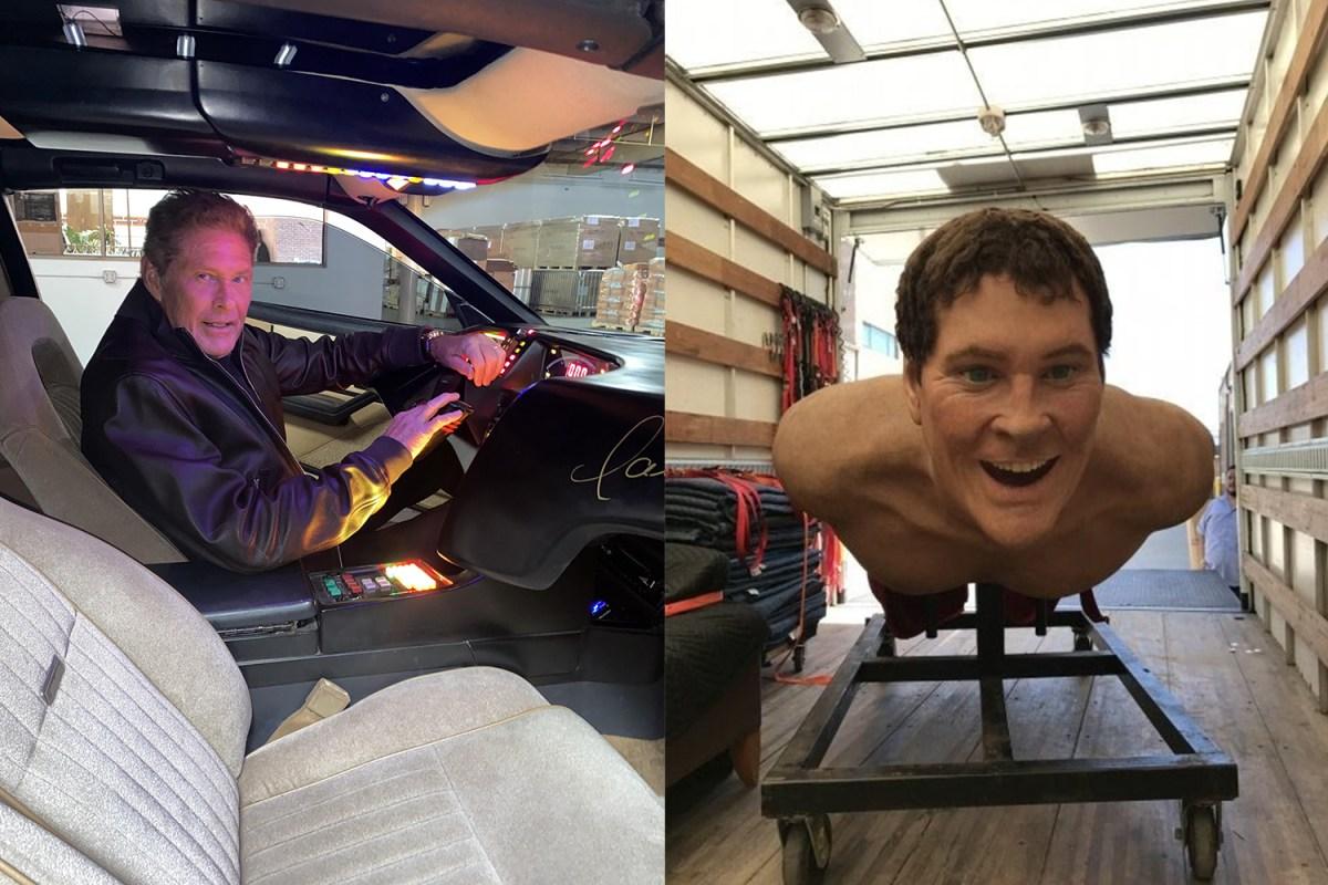 David Hasselhoff Knight Rider car and 14-foot statue
