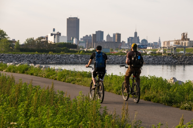 Empire State Trail on the Buffalo Waterfront