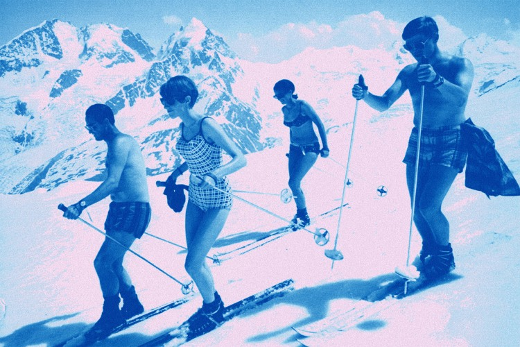 skiers in swimsuits