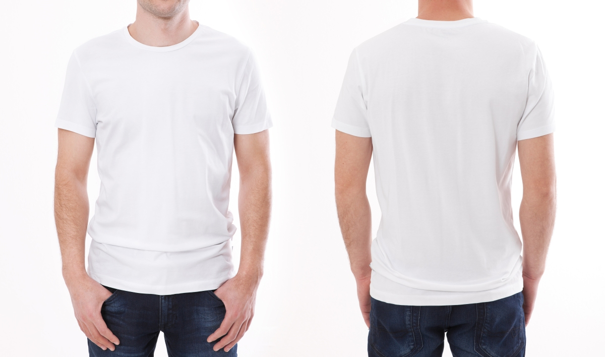 front and back shots of man wearing a T-shirt