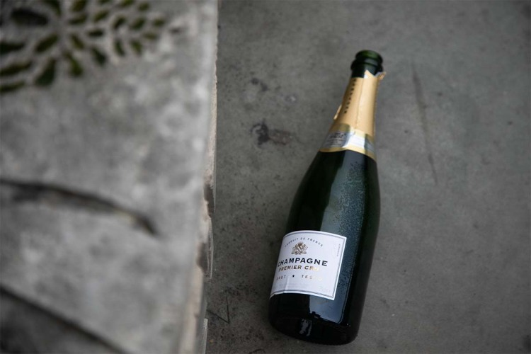 empty bottle of Champagne