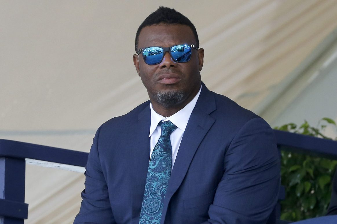 Ken Griffey Jr. attends the Baseball Hall of Fame induction ceremony