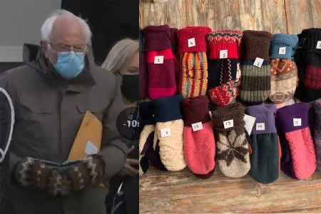 Bernie Sanders' Inauguration Mittens Are Made From Recycled Wool by a Vermont Teacher Because of Course They Are