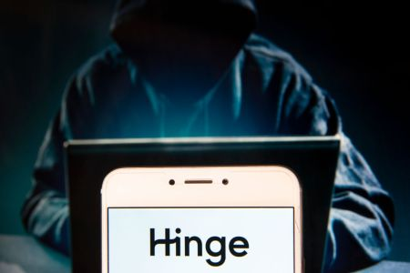 Online dating app Hinge logo is seen on an Android mobile