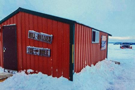 Hillbillies Ice Hole on Lake Lida in Minnesota