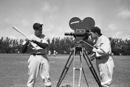 Joe Dimaggio Bats In Front Of Camera
