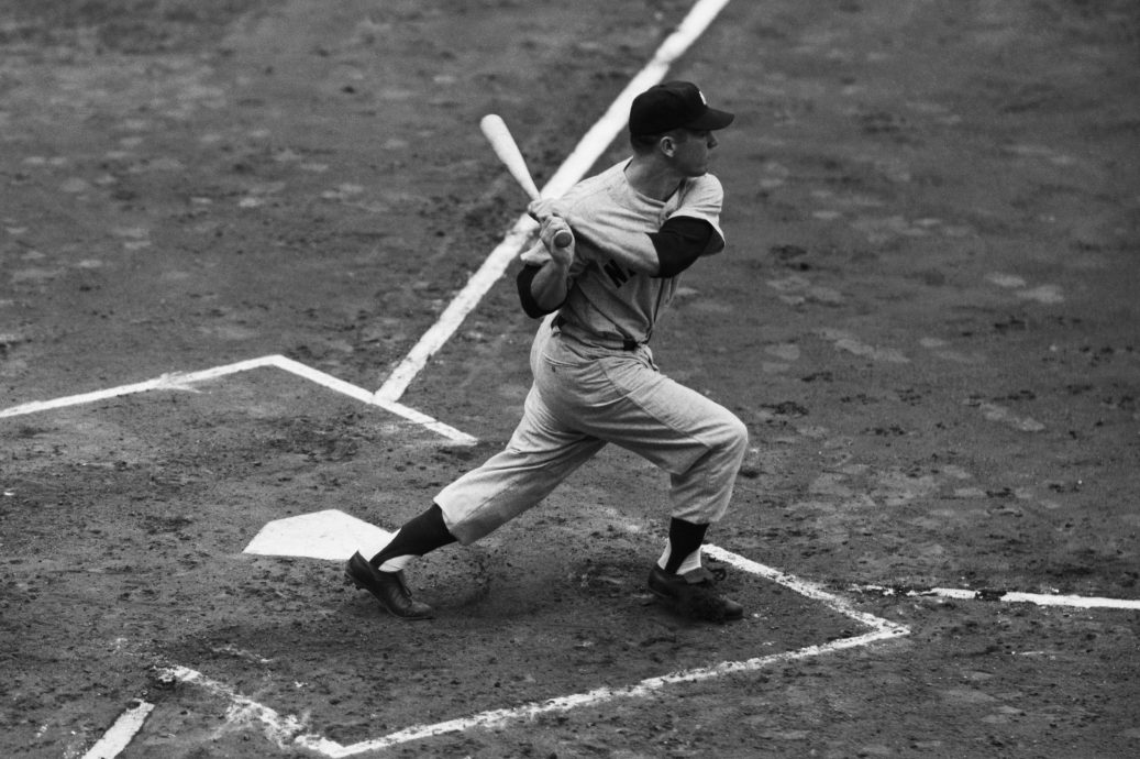 Mickey Mantle plays in Yankees game