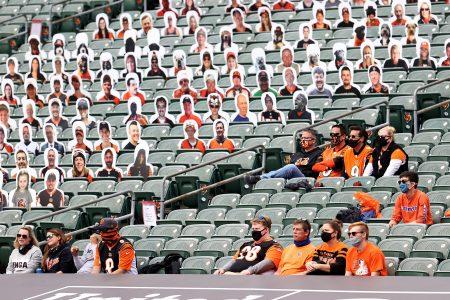 Fake and real crowd during NFL Bengals vs Jaguars game