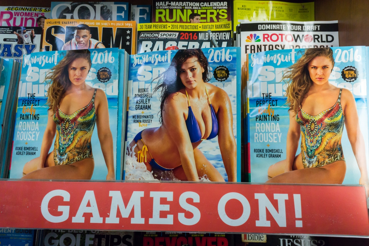 """Sports Illustrated"" Swimsuit Edition on magazine rack"
