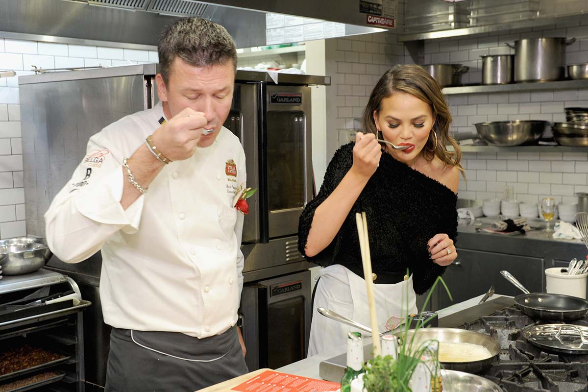Chrissy Teigen in the kitchen