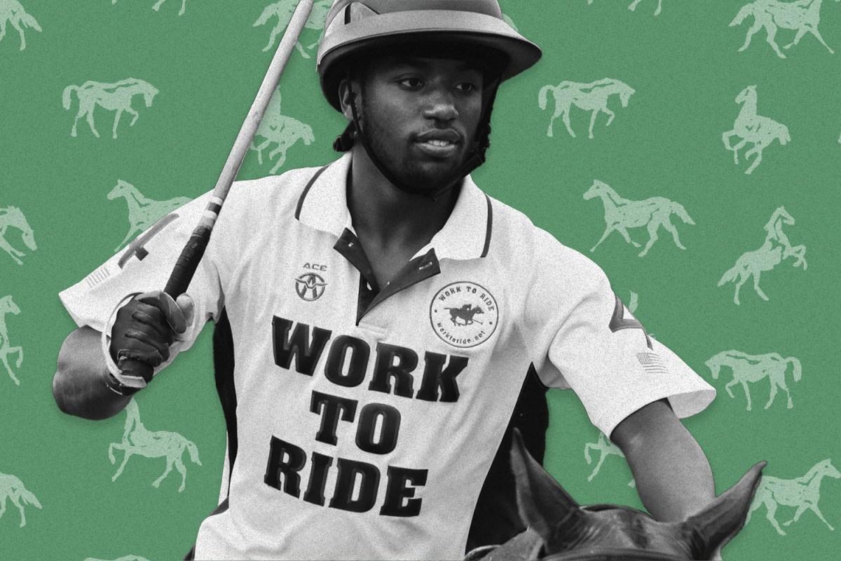 A photo of Kareem Rosser horseback playing polo