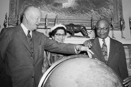 Matthew Henson and wife with President Eisenhower