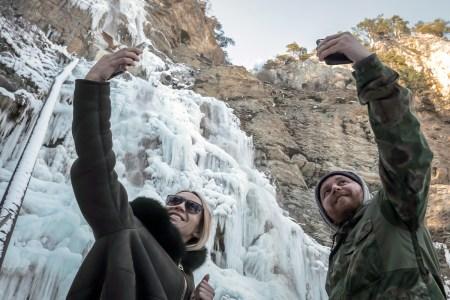 Tourists take a selfie in Crimea, Russia