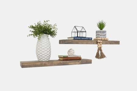 Evonne 2 Piece Pine Solid Wood Floating Shelf