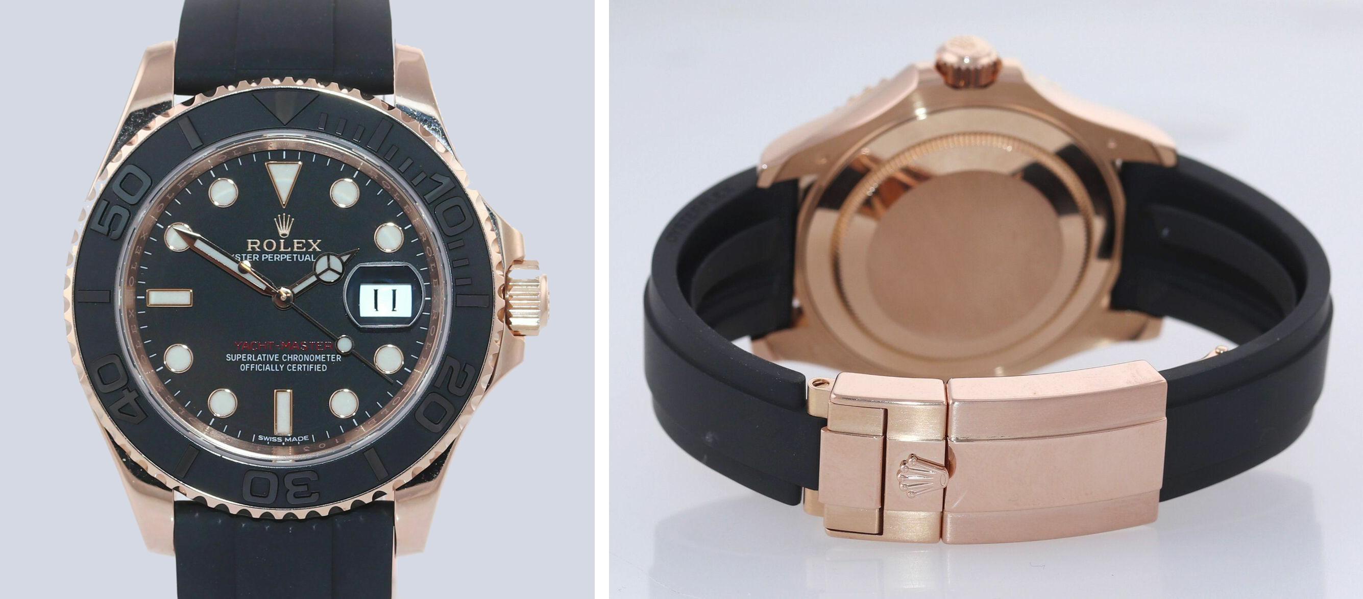 Rolex Yacht-Master 116655 18k Everose 40mm Black Oysterflex Watch ebay