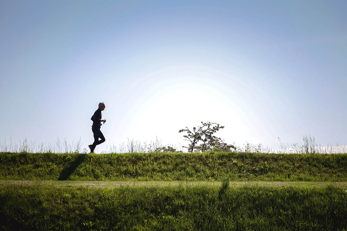 person running for an afternoon workout
