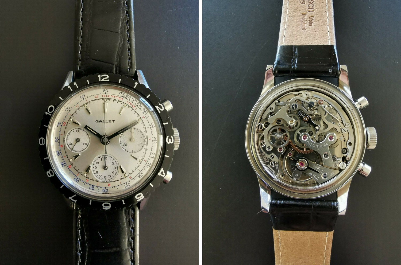 Vintage Gallet MultiChron Pilot Chronograph Stainless Steel Valjoux 72