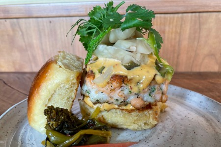 A fish sausage slider from Rosella