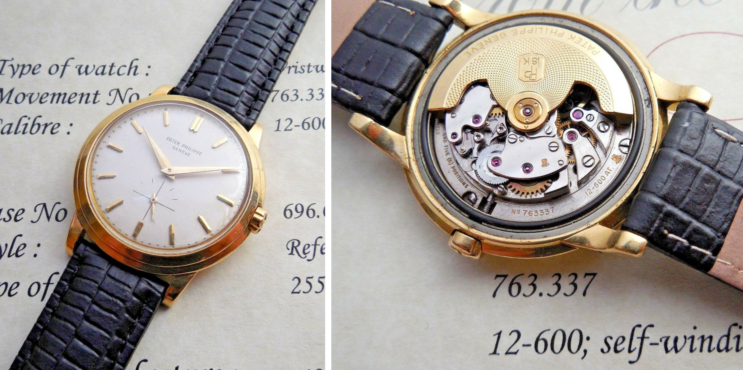 1956 18k GOLD PATEK PHILIPPE CALATRAVA REF 2552 AUTOMATIC 12-600AT 36MM PAPERS