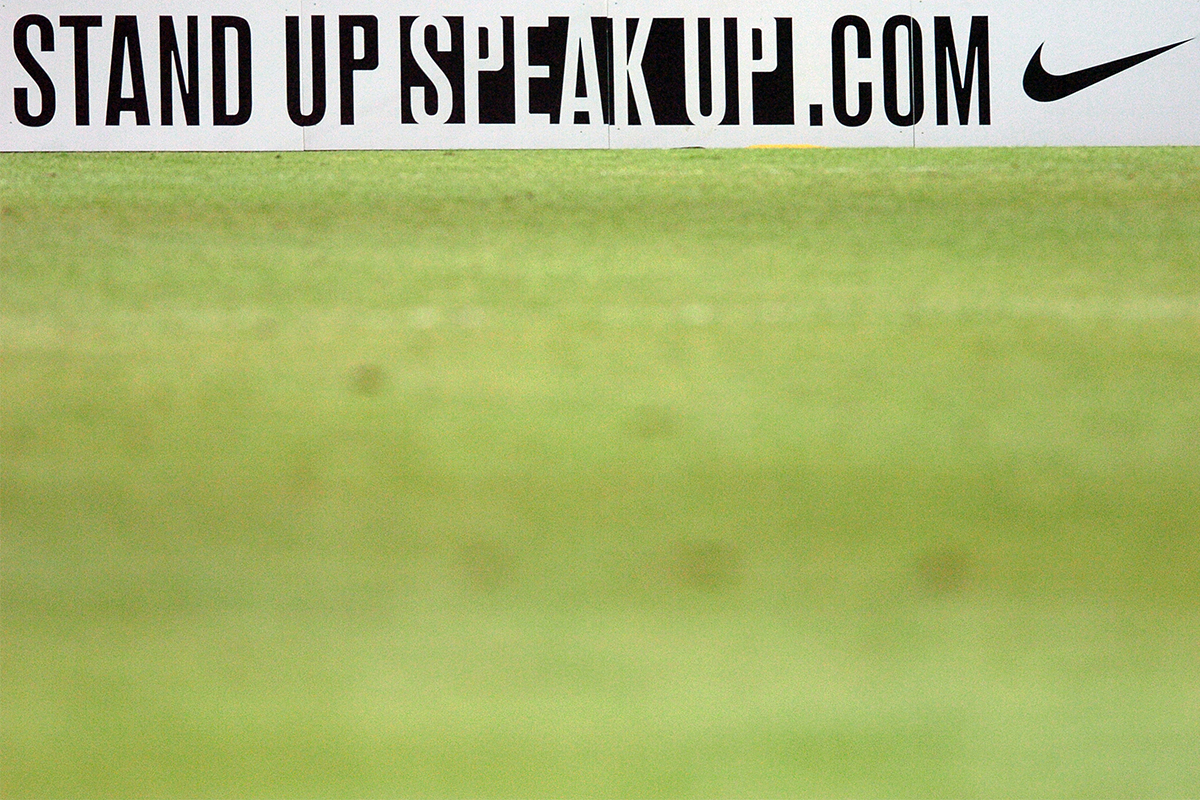 A banner for Thierry Henry's Stand Up Speak Up campaign with Nike