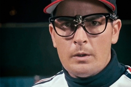 "Charlie Sheen as Ricky ""Wild Thing"" Vaughn in ""Major League"""