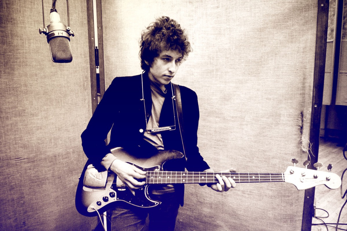 Bob Dylan recording his album 'Bringing It All Back Home' in January of 1965