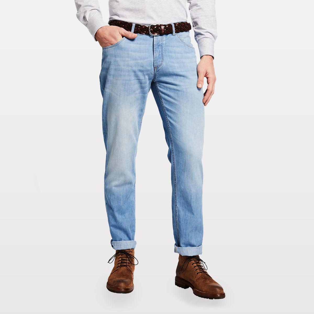 Brunello Cucinelli Men's Traditional-Fit Light-Wash Jeans