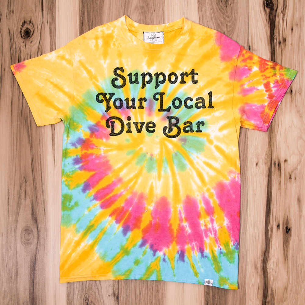 InsideHook x Kid Dangerous Support Your Local Dive Bar charity collab tee in pastel tie-dye