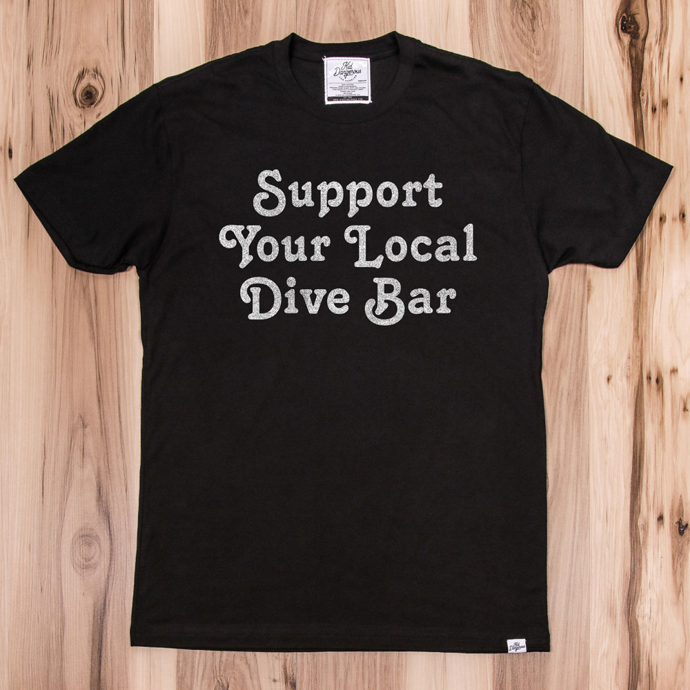 InsideHook x Kid Dangerous Support Your Local Dive Bar charity collab tee in black