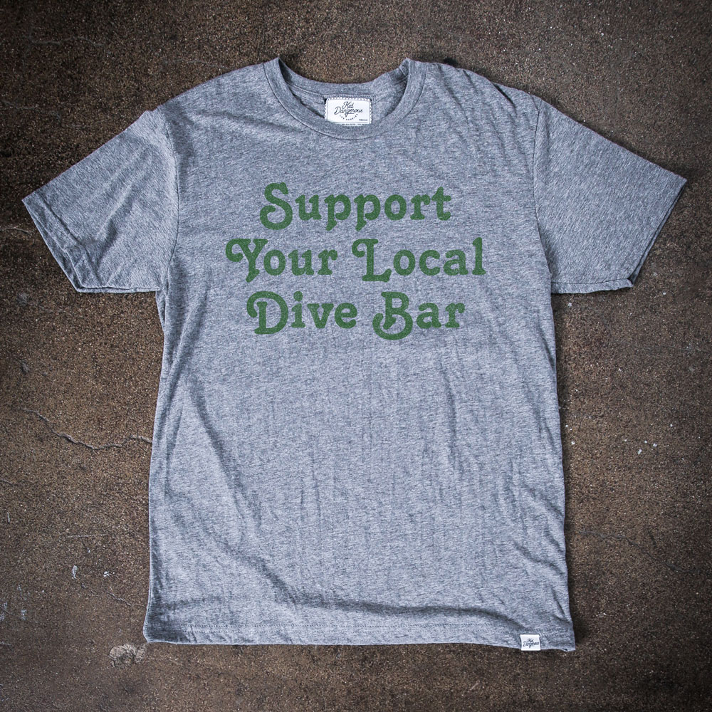 InsideHook x Kid Dangerous Support Your Local Dive Bar charity collab tee in heather grey