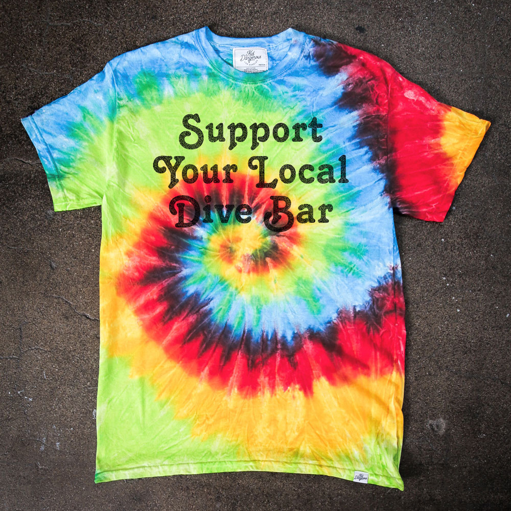 InsideHook x Kid Dangerous Support Your Local Dive Bar charity collab tee in traditional tie-dye