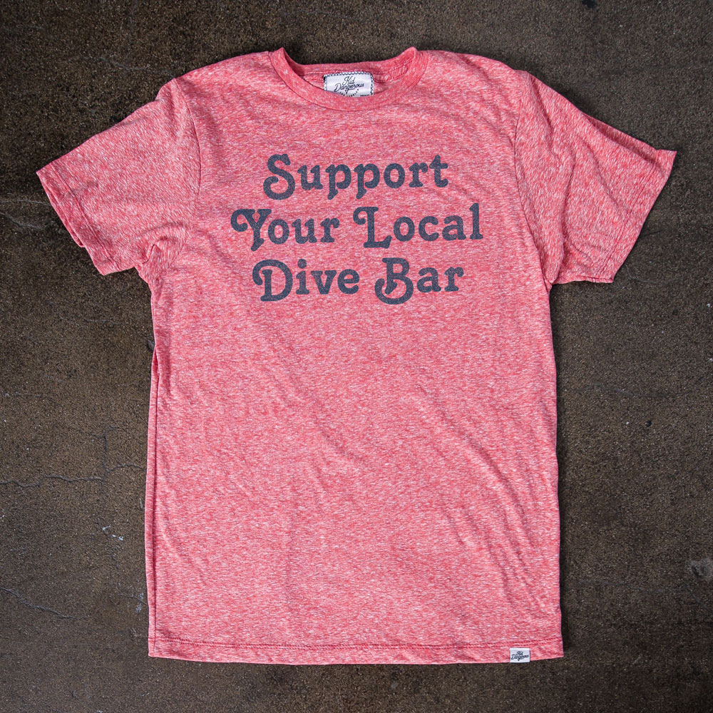 InsideHook x Kid Dangerous Support Your Local Dive Bar charity collab tee in vintage red