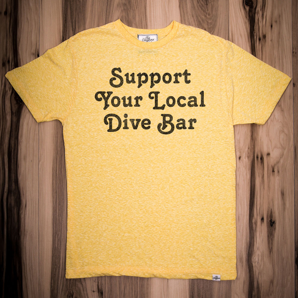 InsideHook x Kid Dangerous Support Your Local Dive Bar charity collab tee in yellow