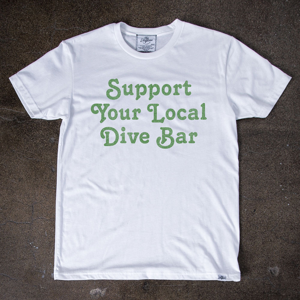 InsideHook x Kid Dangerous Support Your Local Dive Bar charity collab tee in white