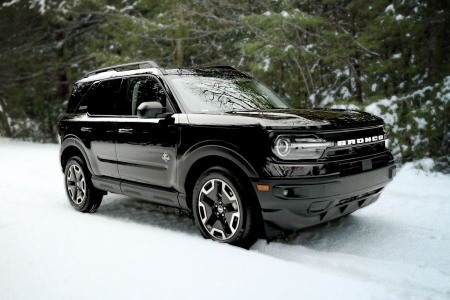 The Ford Bronco Sport Outer Banks Edition pictured in Hudson, New York in winter