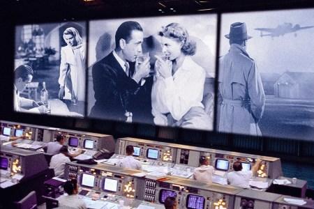 Casablanca plays on the big screen inside a NASA control Room
