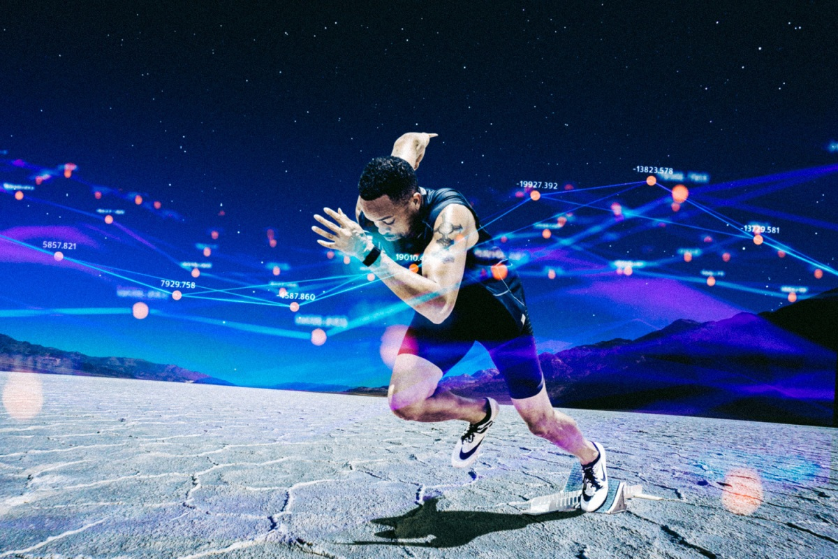 man running in the desert with whoop fitness tracker